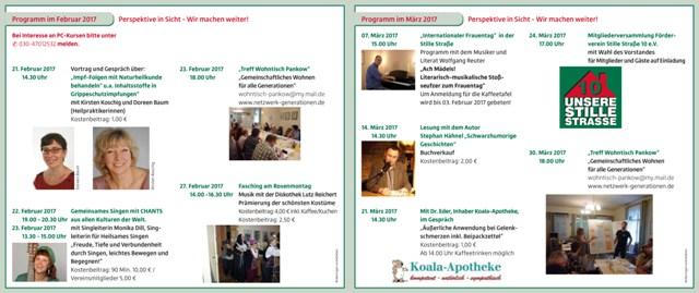 """Programm Februar/März 2017 der Begegnungsstätte """"Stille Straße 10"""""""
